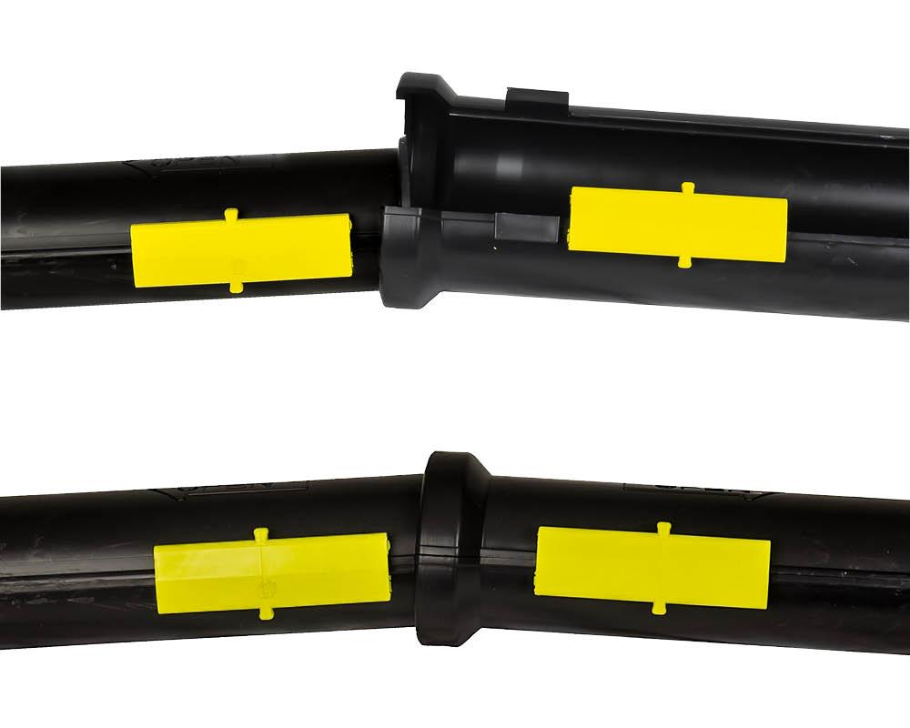 Den inbyggda kopplingen säkerställera att SRN- och SRS-rören håller ihop i längdled.